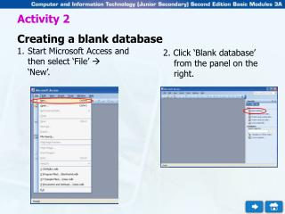 Activity 2 Creating a blank database