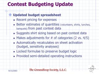 Contest Budgeting Update