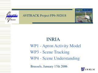 INRIA  WP1 - Apron Activity Model WP3 - Scene Tracking WP4 - Scene Understanding