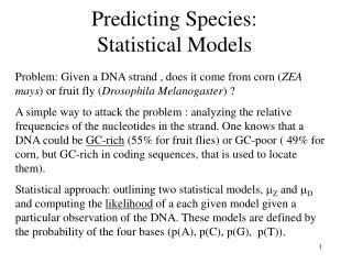 Predicting Species:  Statistical Models