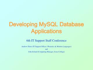 Developing MySQL Database Applications