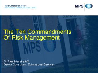 The Ten Commandments  Of Risk Management