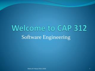 Welcome to CAP 312