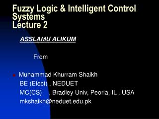 Fuzzy Logic & Intelligent Control Systems Lecture 2
