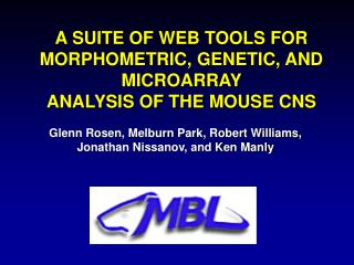 A SUITE OF WEB TOOLS FOR MORPHOMETRIC, GENETIC, AND MICROARRAY  ANALYSIS OF THE MOUSE CNS