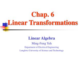 Chap. 6  Linear Transformations