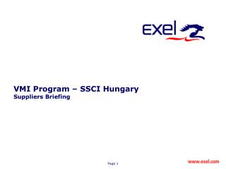 VM I Program –  SSCI Hungary Suppliers Briefing
