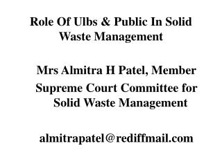 Role Of Ulbs & Public In Solid Waste Management