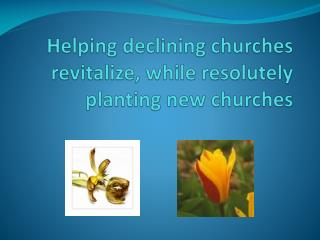 Helping  declining  churches  revitalize , while resolutely planting new churches