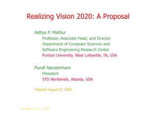 Realizing Vision 2020: A Proposal