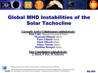 Global MHD Instabilities of the Solar Tachocline
