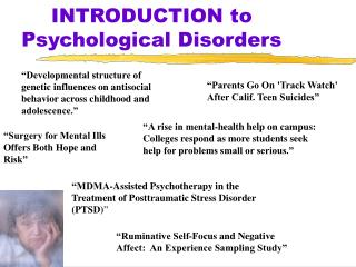 INTRODUCTION to Psychological Disorders