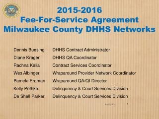 2015-2016  Fee-For-Service Agreement Milwaukee County DHHS Networks