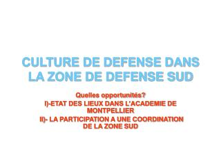 CULTURE DE DEFENSE DANS LA ZONE DE DEFENSE SUD