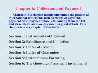 Chapter 6: Collection and Payment
