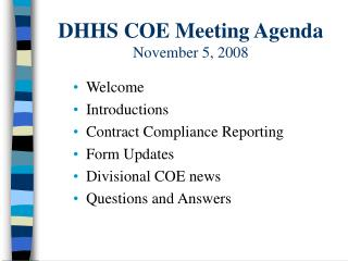 DHHS COE Meeting Agenda November 5, 2008