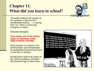 Chapter 11. What did you learn in school?