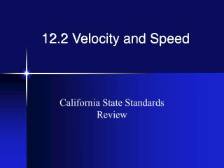 12.2 Velocity and Speed