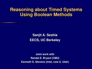 Reasoning about Timed Systems Using Boolean Methods