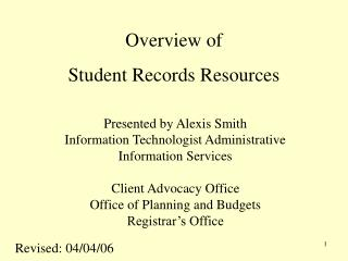 Overview of  Student Records Resources