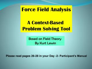 Force Field Analysis A Context-Based  Problem Solving Tool
