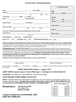 The Church of God --- Family Camp Application