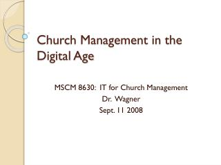 Church Management in the Digital Age