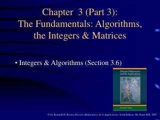 Chapter  3 (Part 3): The Fundamentals: Algorithms, the Integers & Matrices