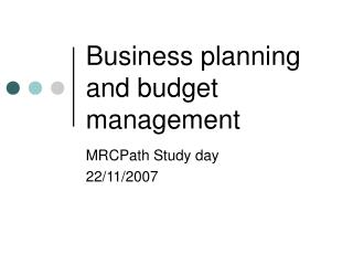 Business planning and budget management
