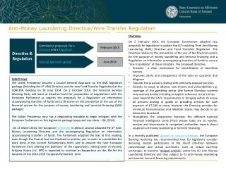 Anti-Money Laundering Directive/Wire Transfer Regulation