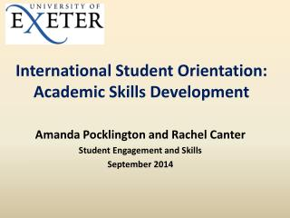 International Student Orientation: Academic Skills Development