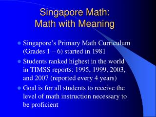 Singapore Math: Math with Meaning