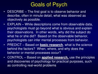 Goals of Psych