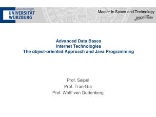 Advanced Data Bases  Internet Technologies   The object-oriented Approach and Java Programming