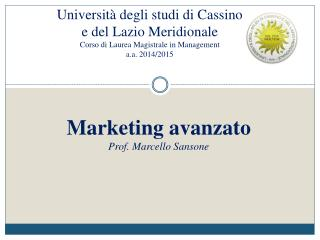 Marketing avanzato Prof. Marcello Sansone