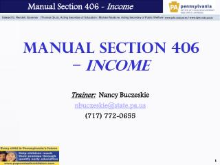Manual Section 406 –  Income