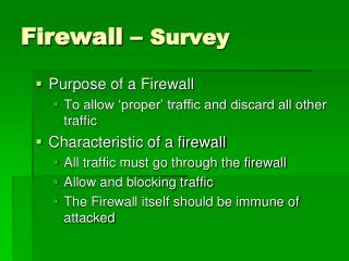 Firewall –  Survey