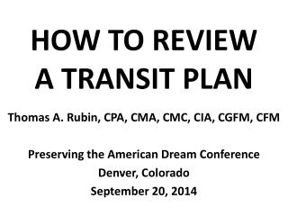 HOW TO REVIEW A TRANSIT PLAN