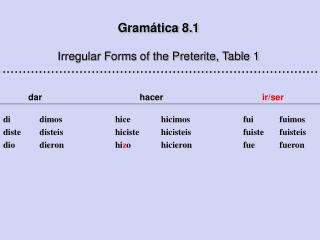 Gram ática 8. 1 Irregular Forms of the Preterite, Table 1