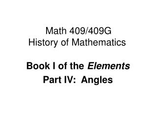 Math 409/409G History of Mathematics