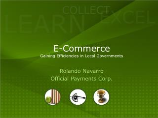 E-Commerce Gaining Efficiencies in Local Governments