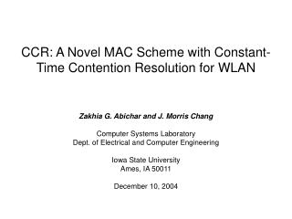 CCR: A Novel MAC Scheme with Constant-Time Contention Resolution for WLAN