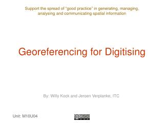 Georeferencing for Digitising