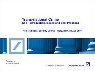 Trans-national Crime CFT - Introduction, Issues and Best Practices