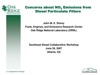 Concerns about NO 2  Emissions from Diesel Particulate Filters