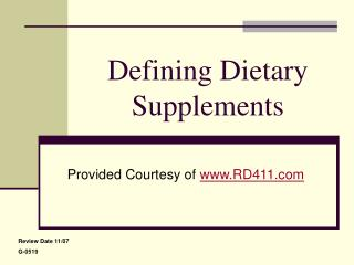 Defining Dietary Supplements