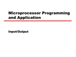 Microprocessor Programming and Application