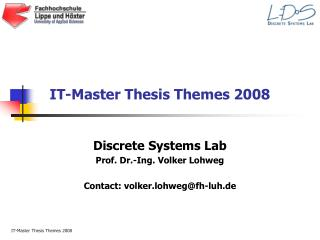 IT-Master Thesis Themes 2008