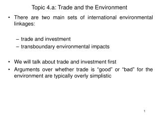 Topic 4.a: Trade and the Environment