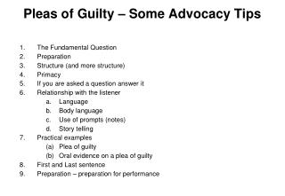 Pleas of Guilty – Some Advocacy Tips